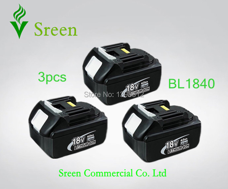 3PCS 18V Lithium Ion 4000mAh Rechargeable Battery Replacement Power Tool Battery for Makita 18V BL1830 BL1840 LXT400 194205-3 набор bosch ножовка gsa 18v 32 0 601 6a8 102 адаптер gaa 18v 24