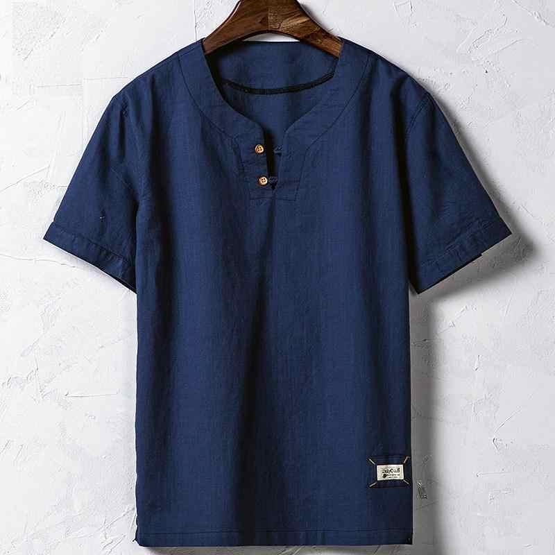 男性綿リネンシャツ半袖プルオーバー夏通気性メンズ品質カジュアルシャツスリムフィット男性clothing ts-161