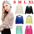 Hot Sale Women Lace T Shirt Casual Long Sleeve T Shirt Tees Sexy Floral Crochet T-Shirt Women Tops Plus Size T-Shirt Camiseta