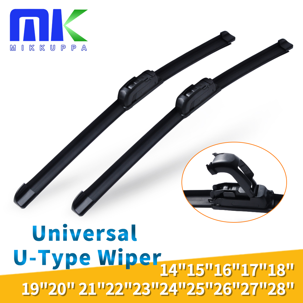 Universal U-Type Car Wiper Blade 14'' 16'' 18'' 19'' 20'' 21'' 22'' 24'' 26'' 28'' U Hook Silicone Rubber Windshield Auto Wipers