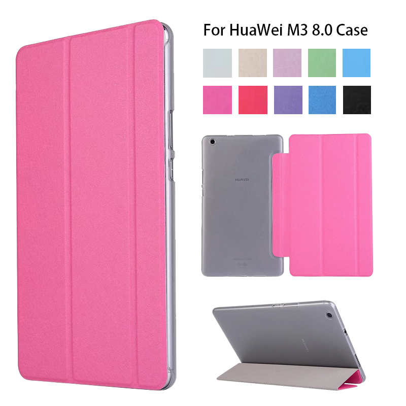 Case Cover For Huawei Mediapad M3 Lite 8.0 2017 New PU Slim Smart Stand Case For HUAWEI M3 8 Inch Tablet Transparent Case
