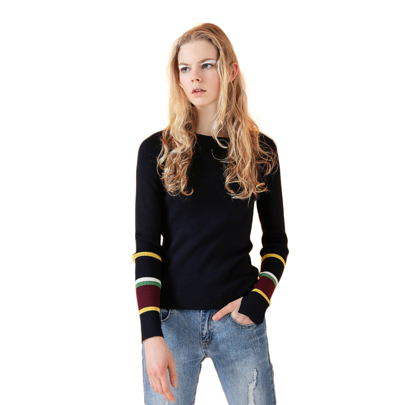 Toyouth Hit Colore Striped Cashmere Sweater Skinny Women Sweaters Crew Neck Long-sleeve Basic Knitted Pullovers