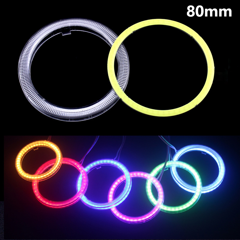 1pcs Car Angel Eyes 80mm White Red Blue Green Pink Ice Blue Yellow Auto Halo Rings For Car Auto Moto Moped Scooter Motorcycle