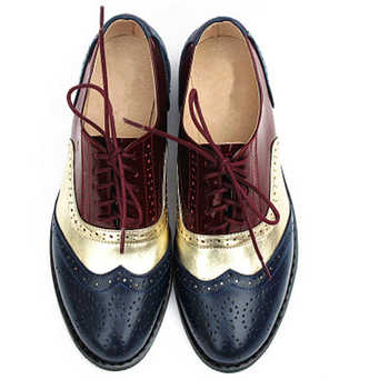 Women\'s Flats Oxford Shoes Woman Genuine Leather Sneakers Ladies Brogues Vintage Casual Oxfords Shoes For Women Footwear