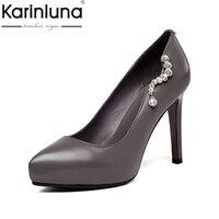 Karinluna 2018 primavera otoño nuevo grano Cuero auténtico mujeres ol Bombas Tacones altos slip-on plataforma Zapatos Mujer