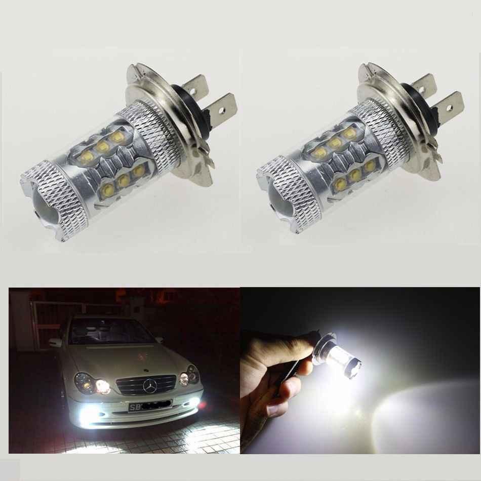2 ピース/ロット超高輝度 80 ワット cree led H7 車 & 車両 drl ドライビングカーホワイト can バスと投光器レンズ