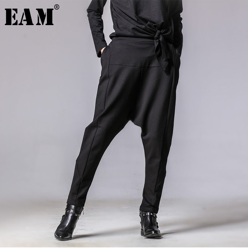 [EAM] 2019 New Autumn Winter High Elastic Waist Black Button Split Joint Wide Leg Long Loose Pants Women Trousers Fashion YG2