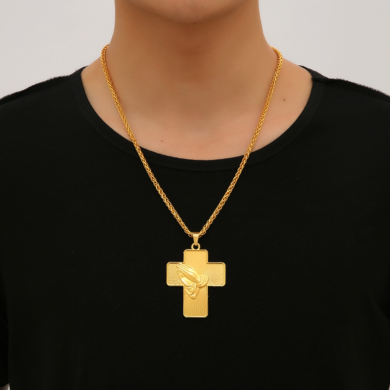 Huaibeishipin New Brand 18krgp Cross Crucifix And Buddhist Palm
