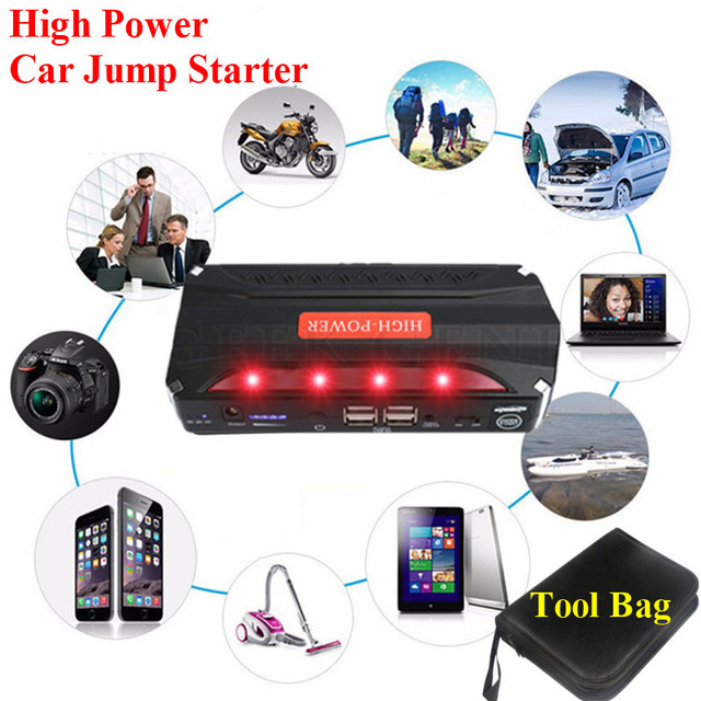 Hot! Petrol Diesel Multi-Function 12V Car Jump Starter Emergency 4USB Power Bank SOS Lights Best 600A Peak Car Charger Free Ship
