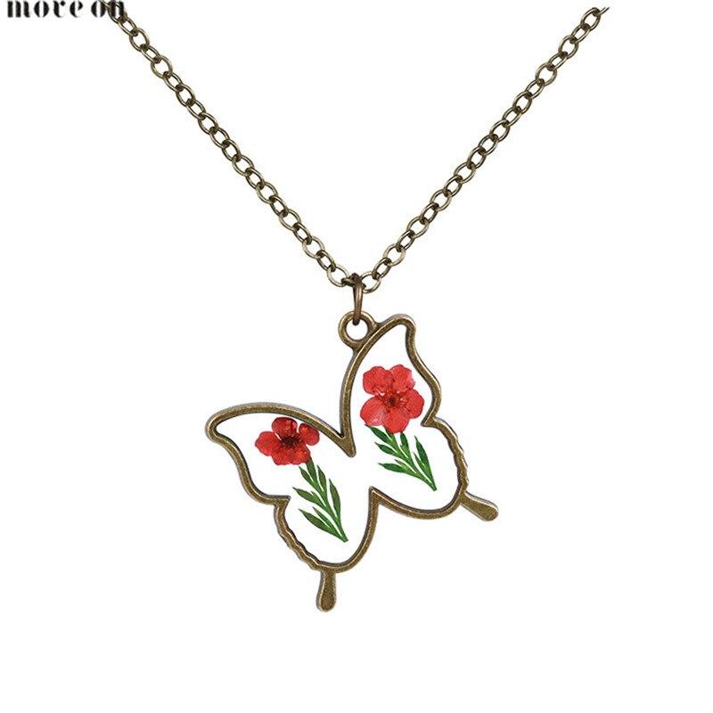 Prohlášení Šperky Suché květiny Motýl Náhrdelník Pár Náhrdelníky Choker Řetěz Límec Přívěsek Šperky Pro Ženy Svatební Dárek