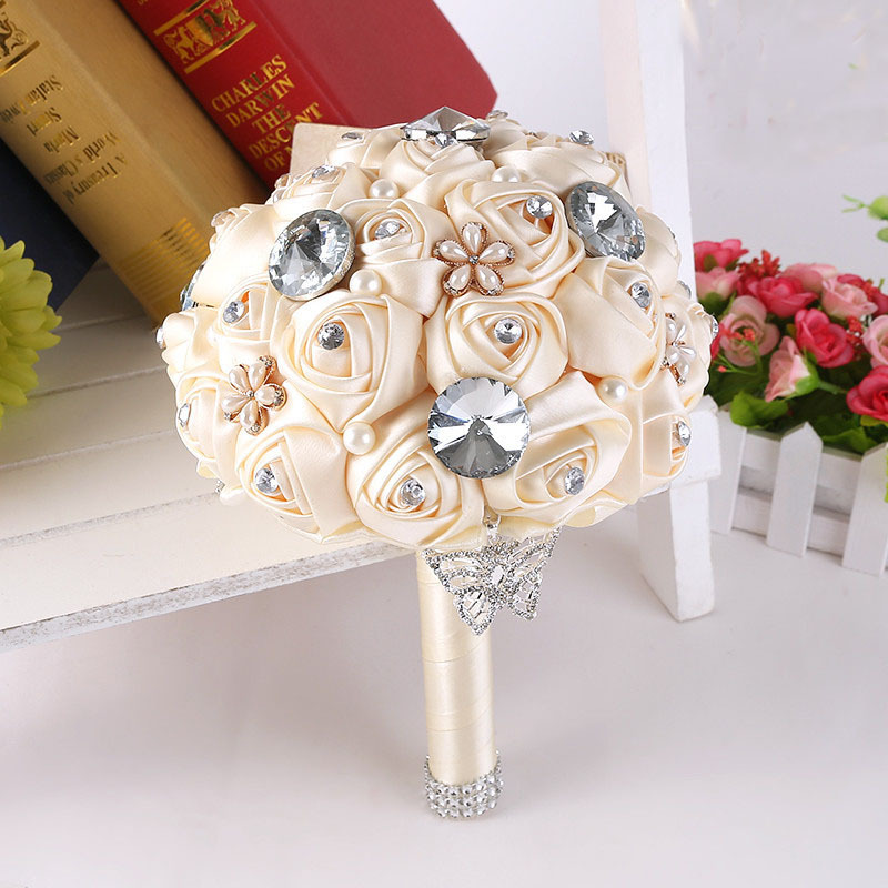Handmade DIY flowers Pearls Silk Rose Bridal Flowers Wedding Bride ...