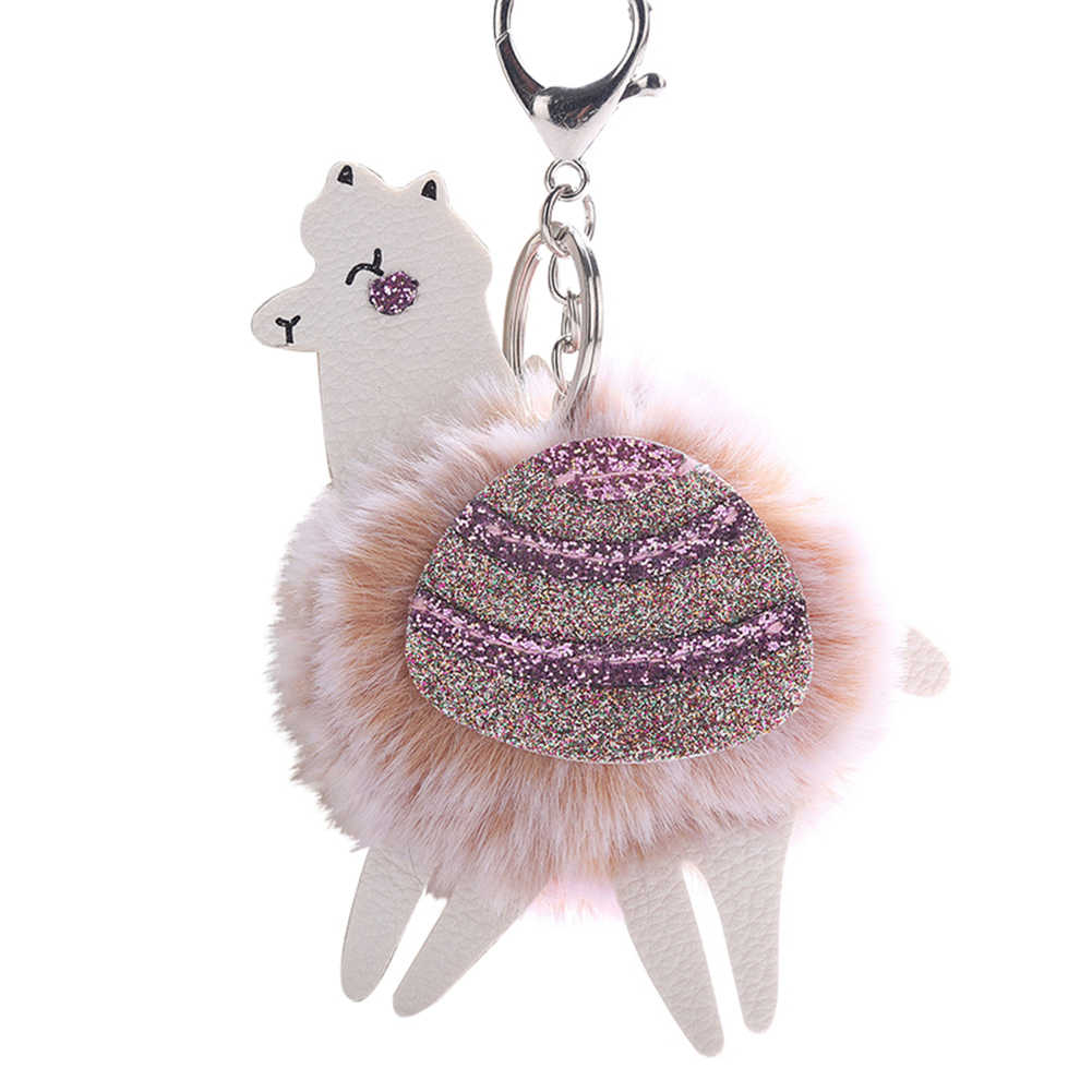 ... Hot Fluffy Alpaca Sequin Pompom Charm Alloy Key Ring Keychain Bag Car  Ornament Decor ... d12cce0a7
