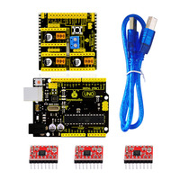 Free Shipping Keyestudio CNC KIT For Arduino CNC Shield V2 UNO R3 3pcs A4988 GRBL Compatible