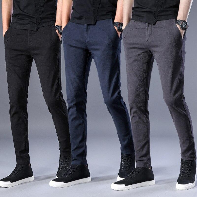 372c843e0a Calidad Estilo Elástico azul Marca Alta Pantalón Macho La 3 Largos Hombres  En De Negro Moda Casual Negro Nueva marrón Pantalones Algodón Cintura  Sólidos ...