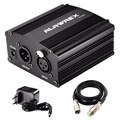 ALAWREX USB 1- Channel 48V Phantom Power Supply w/ Adapter XLR Audio Cable for Condenser Micro Microphone Recording Equipment