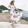 Sexy Beach Dress Summer Dress 2019 Print Flowers V-Neck Short Sleeve High Waist Belt Long Dress Women Asymmetry Party Dresses