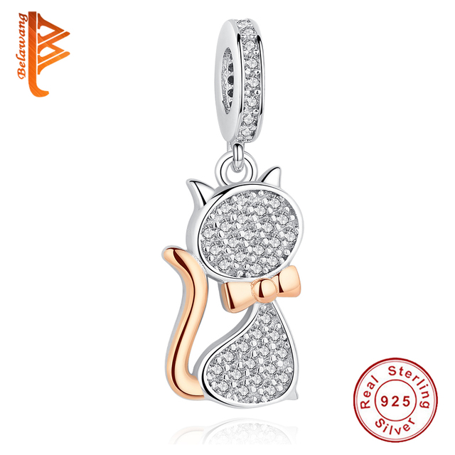 Authentic 925 Sterling Silver Charms Rose Gold Pet Cat Charm Bead Fit Pandora Bracelets DIY Original 925 Sterling Silver Jewelry