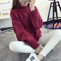 2016 Autumn Winter Fashion Warm Solid Color Batwing Sleeve Women Pullovers Loose Long Sleeve Half Collar Thicken Sweater