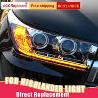 2 Pcs LED Scheinwerfer Für Toyota Highlander 2017-2019 led auto lichter Engel augen xenon HID KIT Nebel lichter LED Tagfahrlicht
