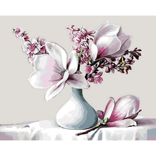 Frameless White Vase Magnolia Picture DIY Oil Painting By Numbers Painting&Calligraphy Home Decor Wall Art 40x50cm