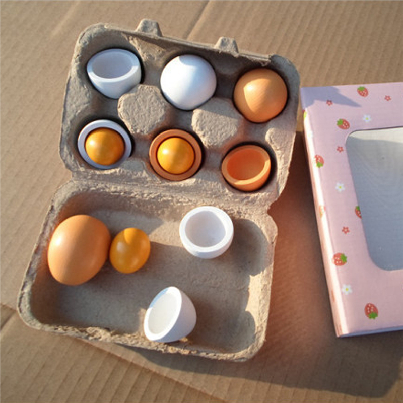 6pcs set Kid Pretend Play font b Toy b font Set Wooden Eggs Yolk Kitchen Food