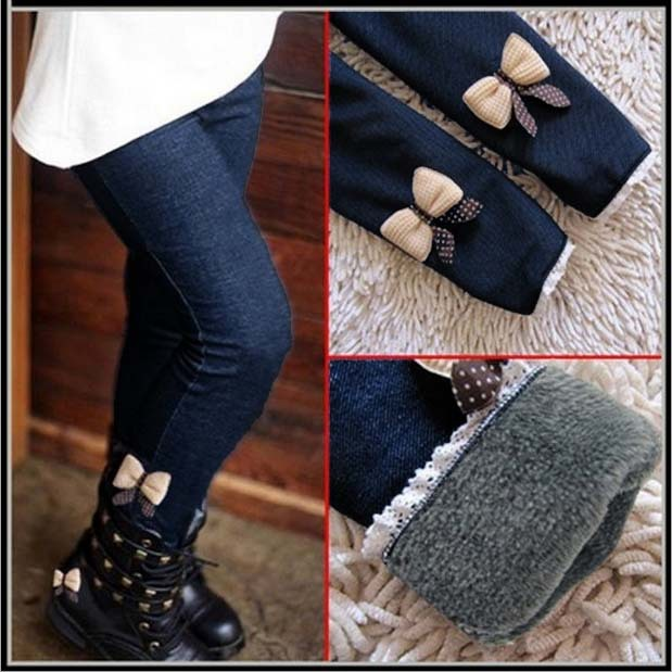 New Brand 2019 Winter Fur Girls Bow Jeans Cotton Children Cashmere Pants Kids Warm Elastic Waist Legging Wholesale And Retail 2