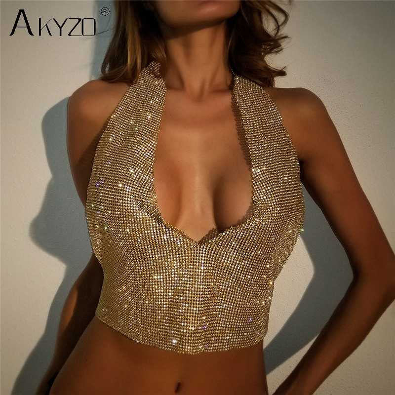 43c2cc4084cc9 AKYZO Sexy Metal Rhinestone Diamond Tank Tops Women Luxury Deep V Backless  Beach Halter Camis Bralette