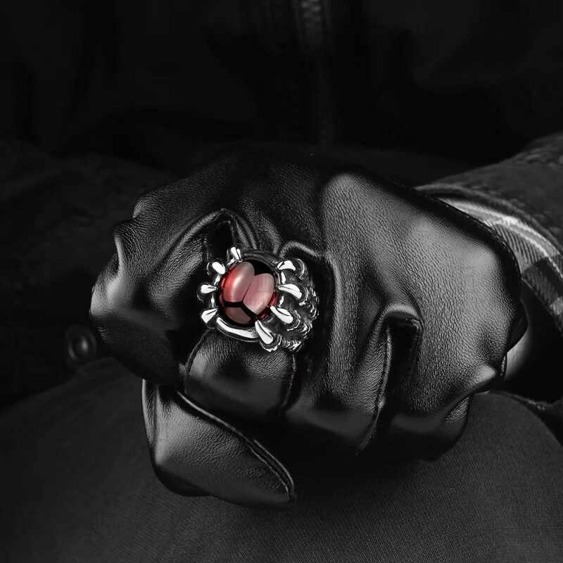 Mling גברים Hiphop טבעת רטרו טיטניום פלדה שחור/אדום אבן טבעות לנשים גברים גותי תכשיטים גודל 8- 11 anillo hombre