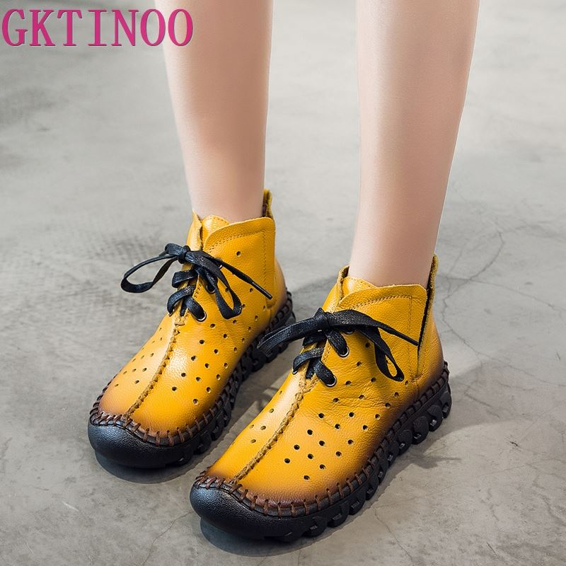 GKTINOO Summer Boots Women Genuine Leather Woman Ankle Boots Hollow-out Womens Summer Shoes Lace-Up Female Ankle BootsGKTINOO Summer Boots Women Genuine Leather Woman Ankle Boots Hollow-out Womens Summer Shoes Lace-Up Female Ankle Boots
