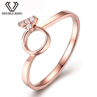 DOUBLE RING Real 18k Rose Gold Genuine Diamond Solid Ring Romantic Jewelry Ring For Women CASR02415KA 3 Joias Ouro 18k