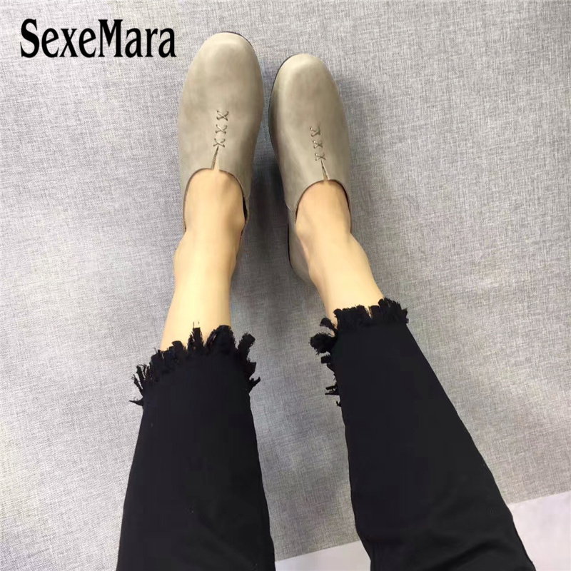 Sexemara оригинальная женская обувь из натуральной кожи крест шить удобные Лоферы для женщин беременных обувь на плоской подошве женская обувь...