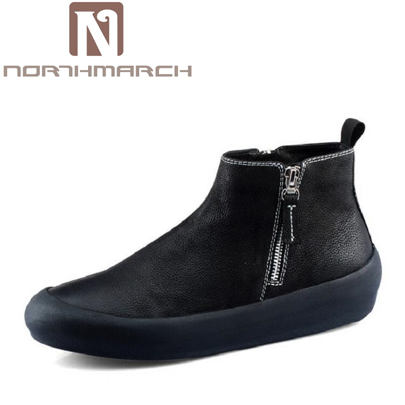 NORTHMARCH Handmade Men Genuine Leather Winter Boots High Quality Brand Men Shoes Casual Ankle Boots For Men Botas Masculinas men winter super warm ankle boots handmade genuine leather high quality brand plush snow shoes casual russian style boots men