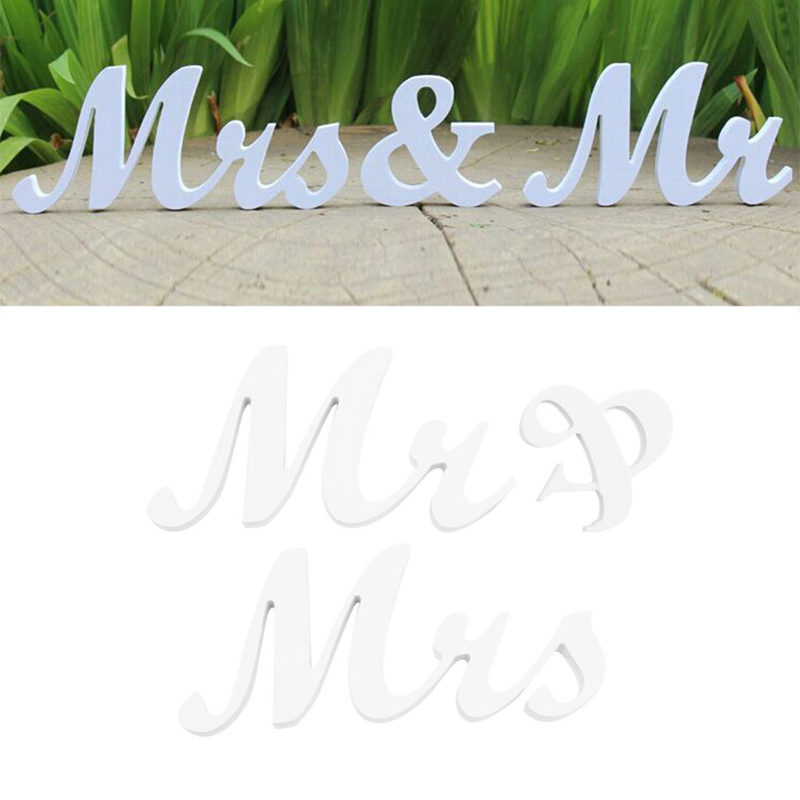 Mr & Mrs Letters Sign Wooden Standing Top Table Wedding Decoration Party New