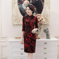 New Women S Mandarin Collar Short Velour Cheongsam Chinese Traditional Print Qipao Sexy Flower Black Red
