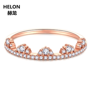 Image 2 - 0.19ct SI/H Natural Diamonds Women Engagement Ring Solid 14k Rose Gold Crown Anniversary Wedding Band Fine Jewelry