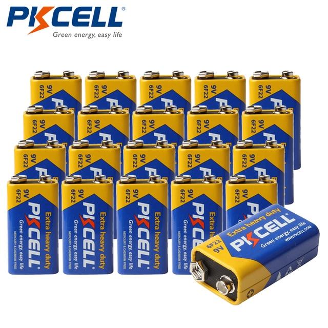 20pcs PKCELL Super Heavy Duty 9V 6F22 Battery Single use Carbon Zinc Battery for Smoke Alarm electronic thermometer