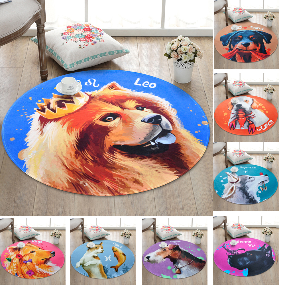 12 Constellations Cartoon Carpet for Children/Kids,Dog Round Rugs Super Soft Thicken Non-slip Rug Mat for Livingroom Bedroom