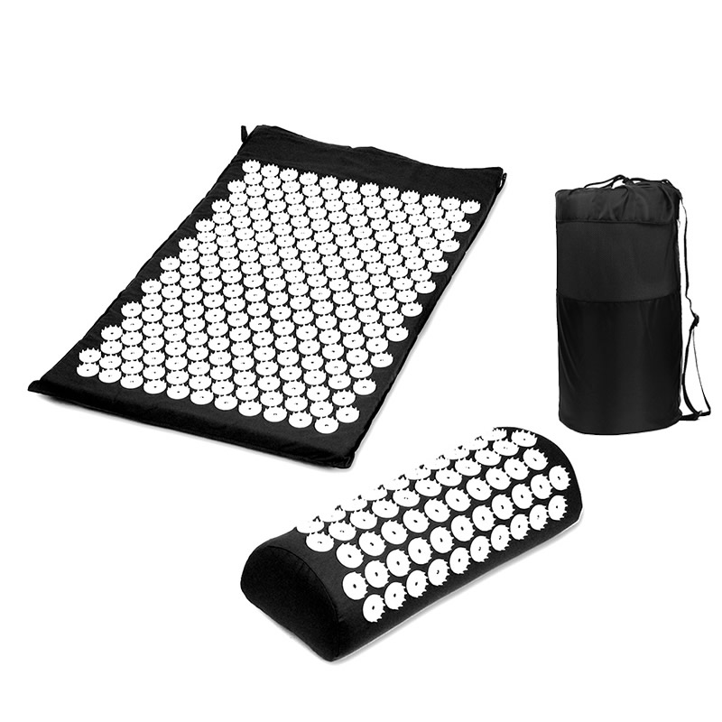 Yoga Back Body Massage Acupressure Mat With Massage Pillow Set for Natural Relief of Stress Pain Tension Spike With Carry Bag acupressure mat and pillow set massage mat for natural relief of stress pain tension body head back foot massage cushion mat