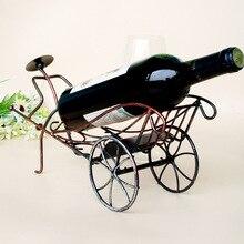 1PC 2016 Newest Creative iron wine rack rickshaws wine shelf China wind decoration design wine holder J2067