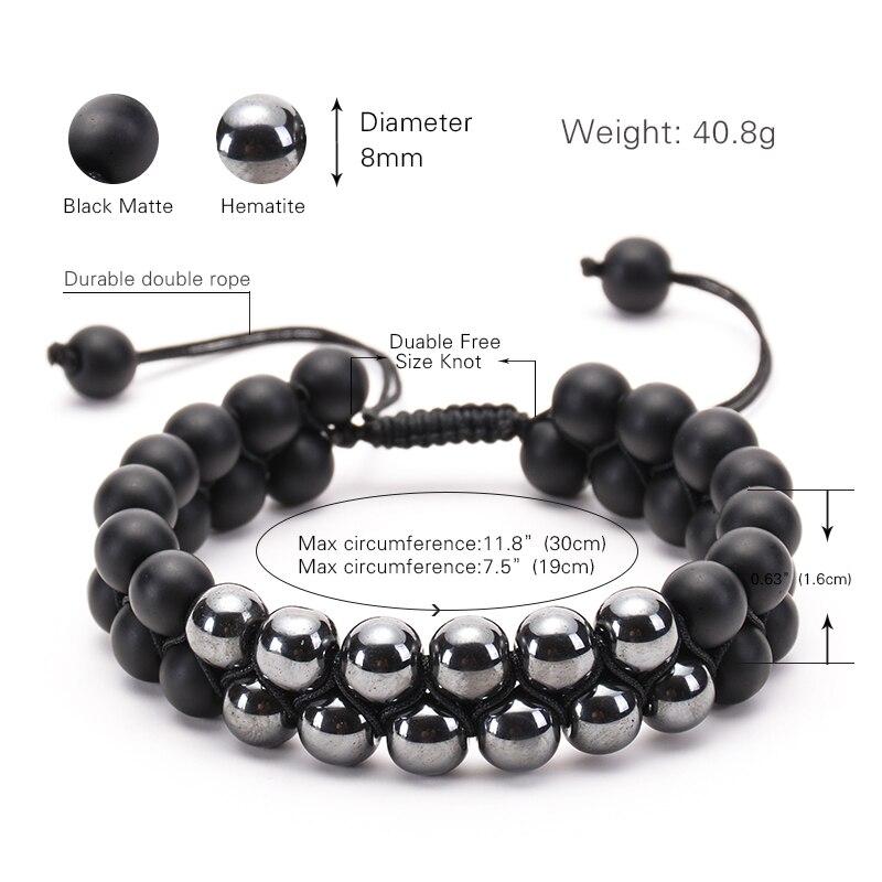 Men Women 8mm Black Matte Hematite Double Row Beaded Bracelet Adjustable Double Layer Handwoven Braided Bracelets For Best Gift in Strand Bracelets from Jewelry Accessories