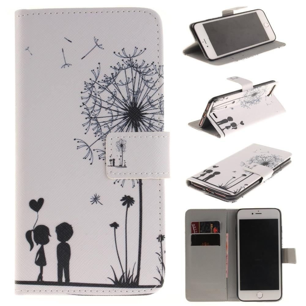 Para Iphone 7 Plus Cute Cartoon Lovers Totem Formula Leather Wallet - Accesorios y repuestos para celulares - foto 3