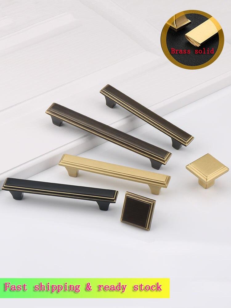 2PCS Pure Copper Handle Cupboard Wardrobe Doorknob Hand Golden Full Shoe Bookcase Gate Solid