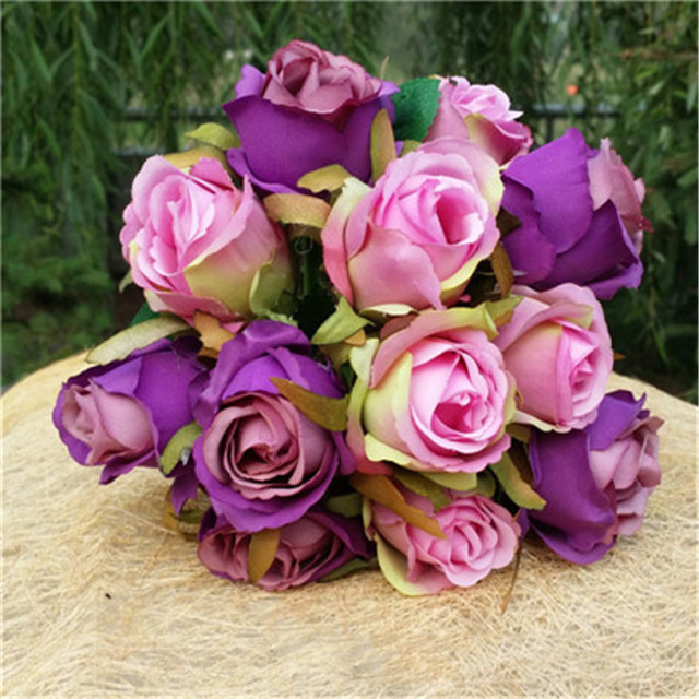 2 Types Silk Artificial Flowers Rose Bridal Wedding Bouquets Rose ...