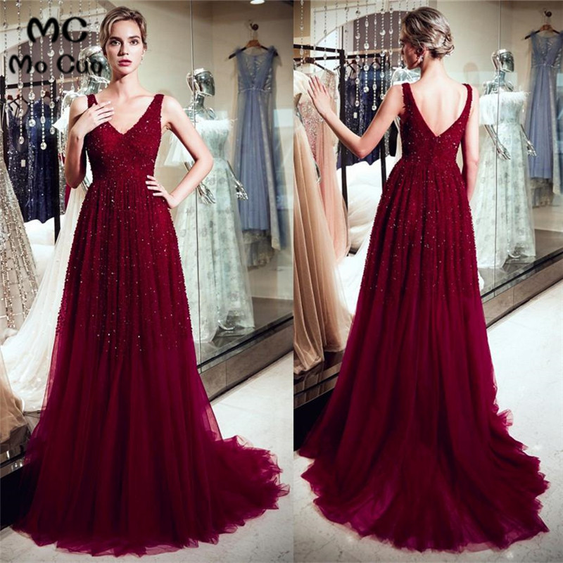 Elegant 2019 A-Line   Prom     Dress   Long with Beaded Double V-Neck Burgundy School Dance   Dress   Tulle   Prom     Dresses   for women