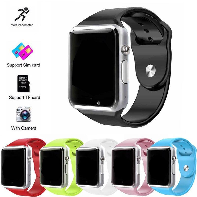 A1 Passometer Relógio Inteligente relógio de Pulso com câmera Tela de Toque Apoio SIM card TF Bluetooth smartwatch para Android IOS Telefone