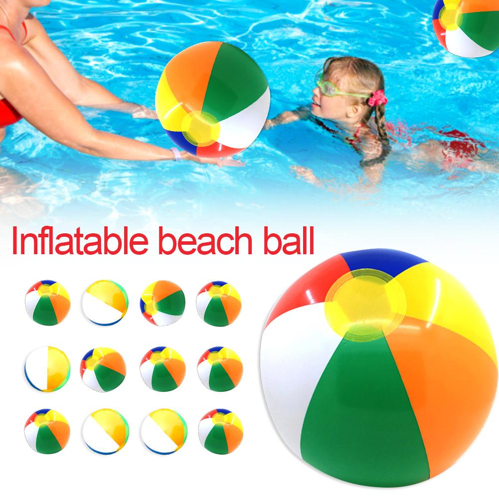 12PCS 30CM High Quality Inflatable Beach Ball Colorful Outdoor Water Sports Fun Swimming Pool Float Game Ball For Kids Adult