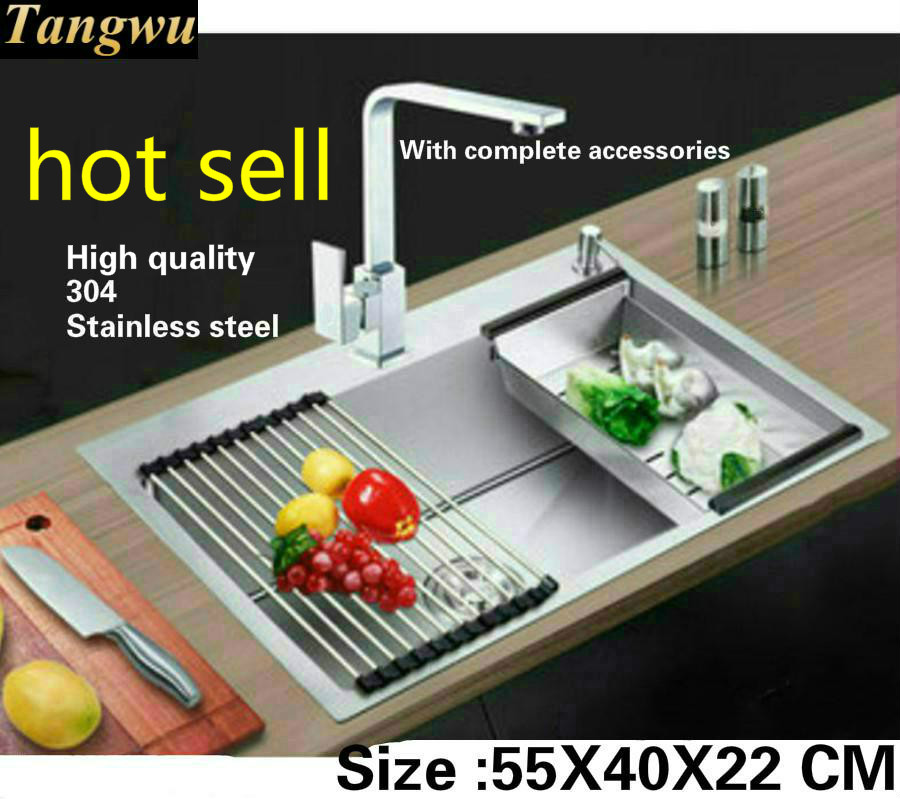 Tangwu Apartment Kitchen Sink Handmade  Thick Sturdy Food-grade Stainless Steel Single Slot Small Hot Sell 55x40x22 Cm