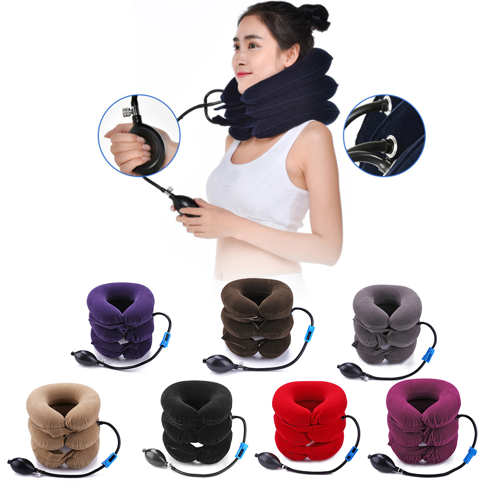 U Neck Travel Pillow Massage Air Inflatable Pillow Cervical Neck Head Pain Pain Relax Traction Support Massager Massage Pillow(China)