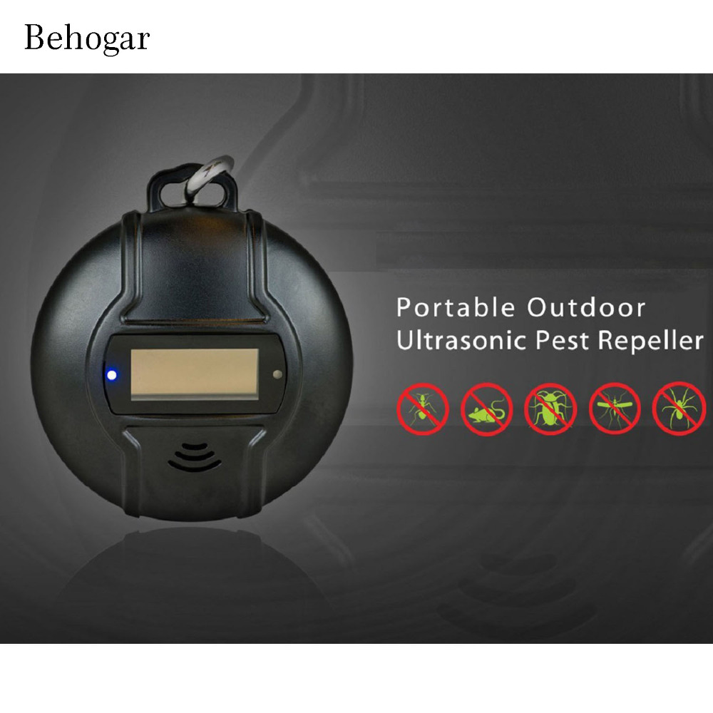 Behogar USB Outdoor Ultrasonic Pest Repeller Solar Powered for Mouse Cockroach Rodents Flies Mosquitoes Ants Mice Reject Killer