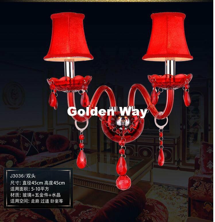 Free Shipping Hotsale Red Crystal Wall Lamp Candle Led E14 Bulbs Purple Fabric Lampshade 2 Lights E14 With Shade 100% Guaranteed 2 color guaranteed 100